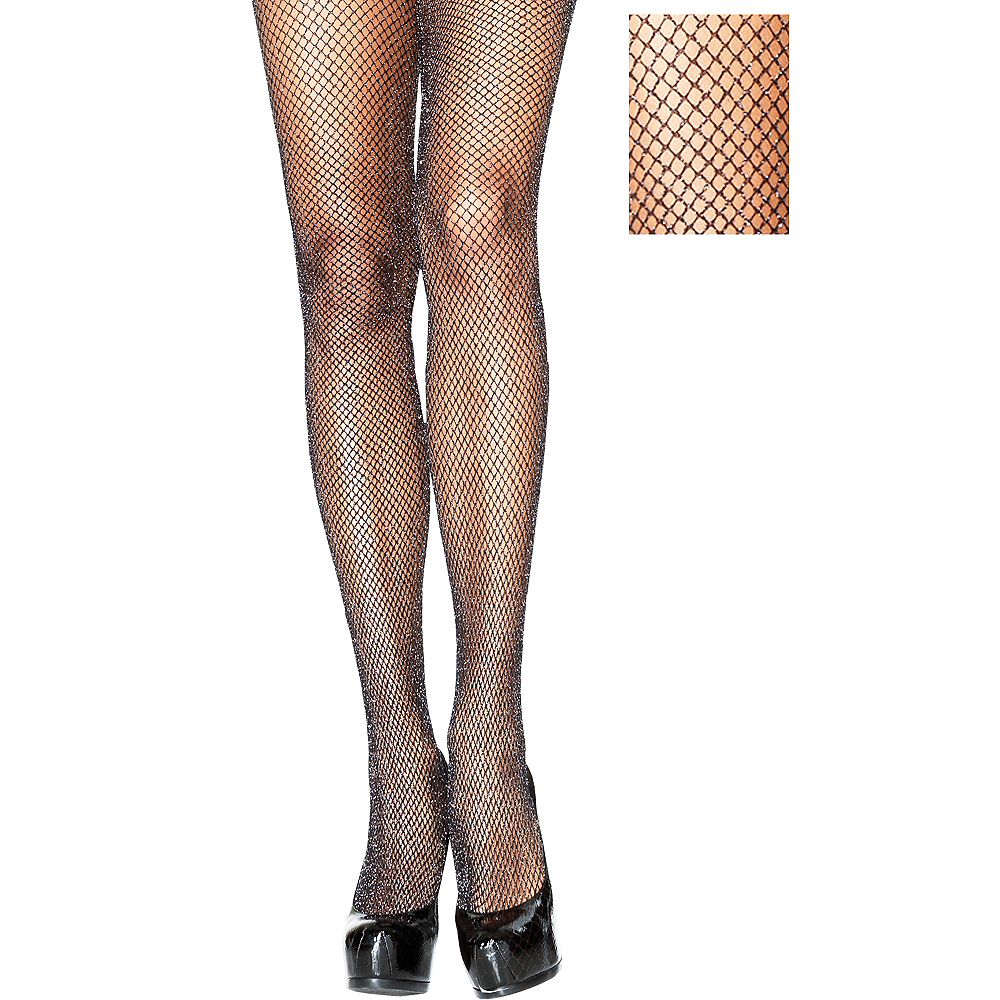 Adult Black Glitter Fishnet Pantyhose Image #1
