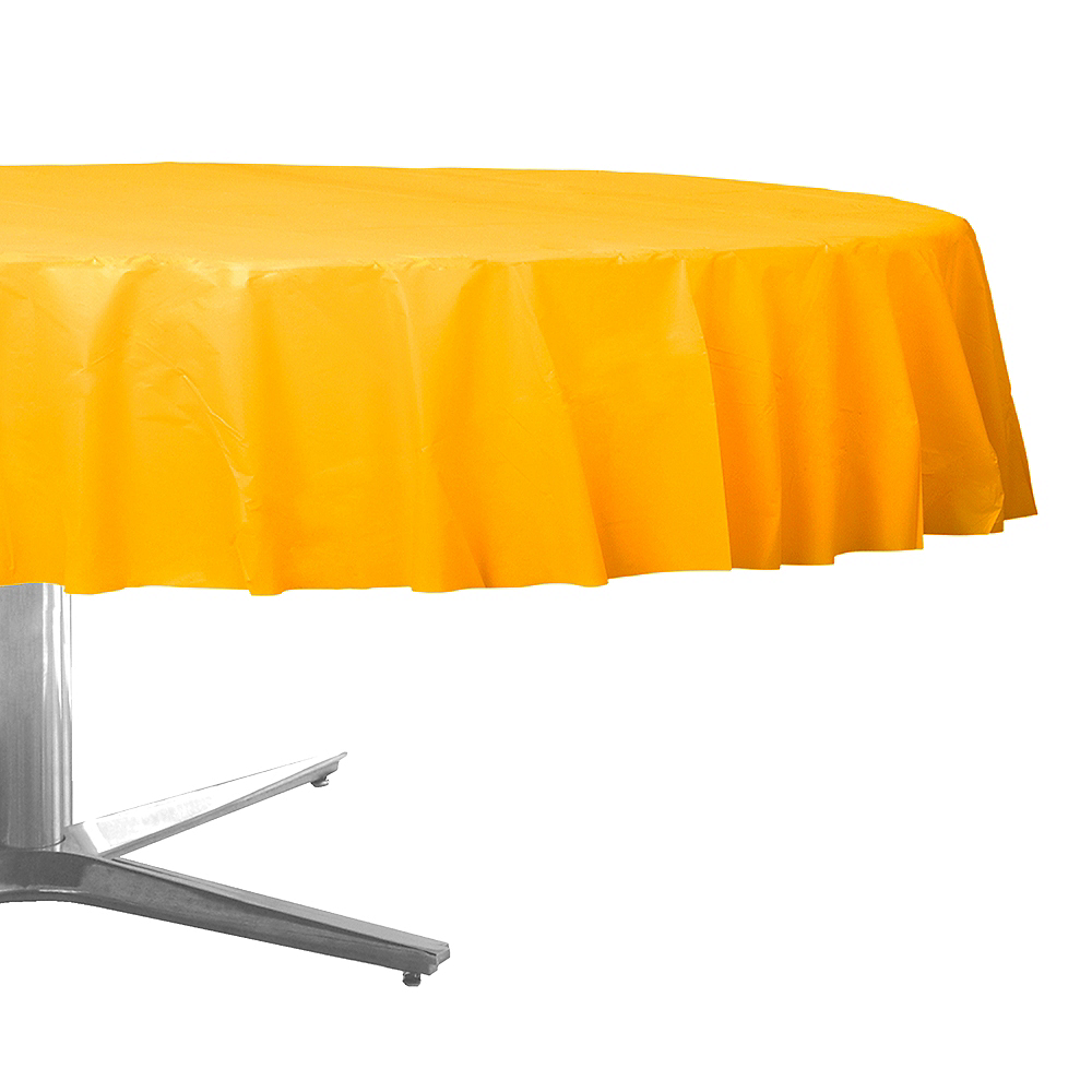 Sunshine Yellow Plastic Round Table Cover Image #1