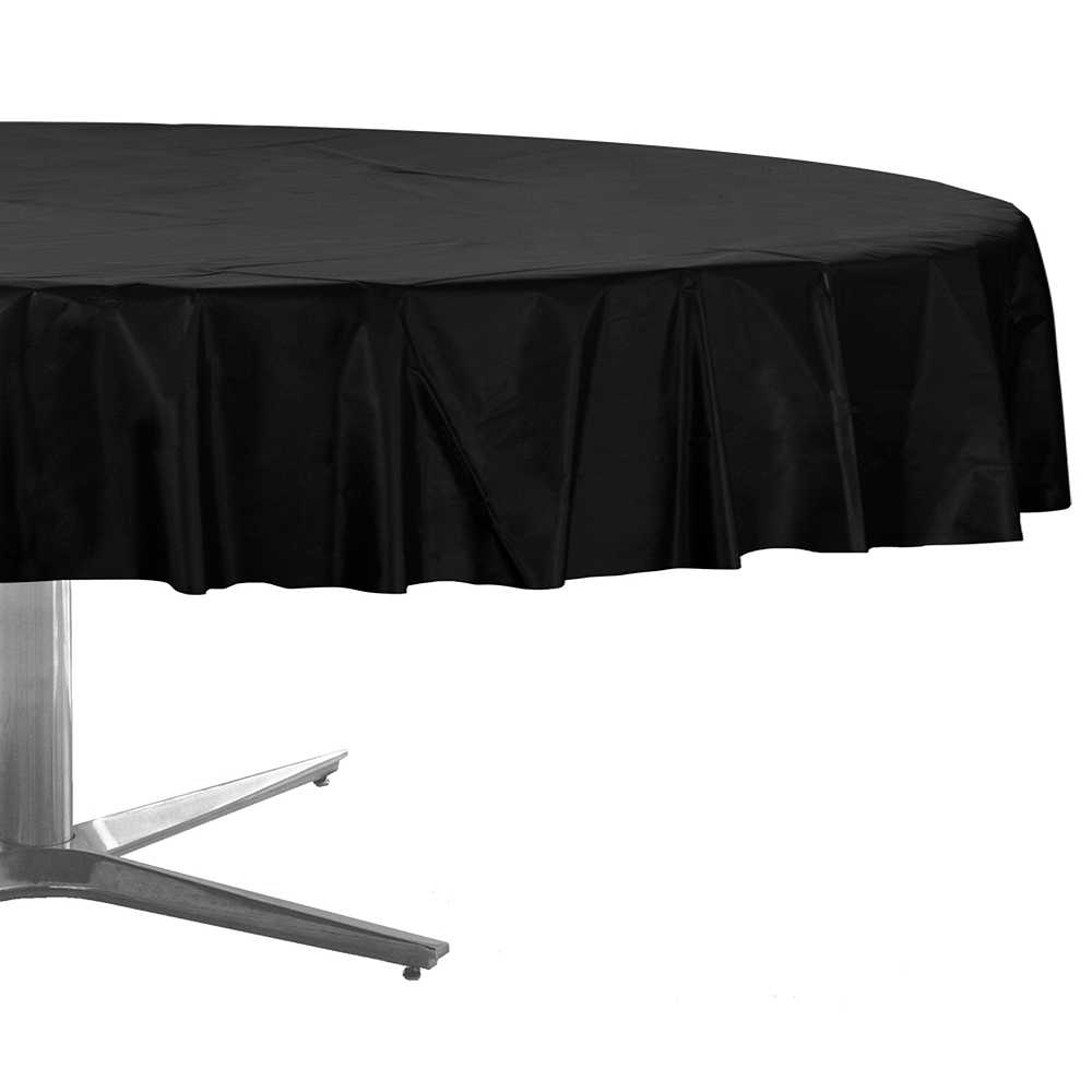 Black Plastic Round Table Cover Image #1
