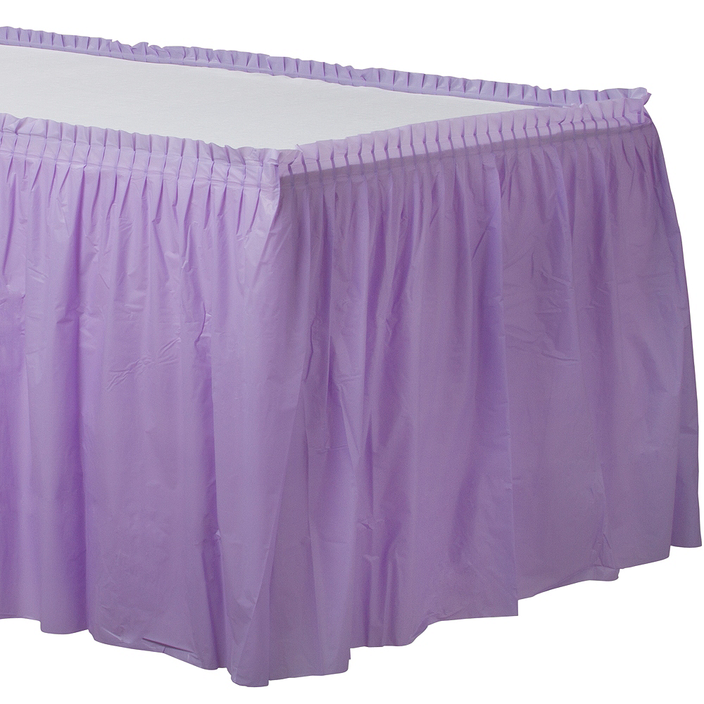 Lavender Plastic Table Skirt Image #1
