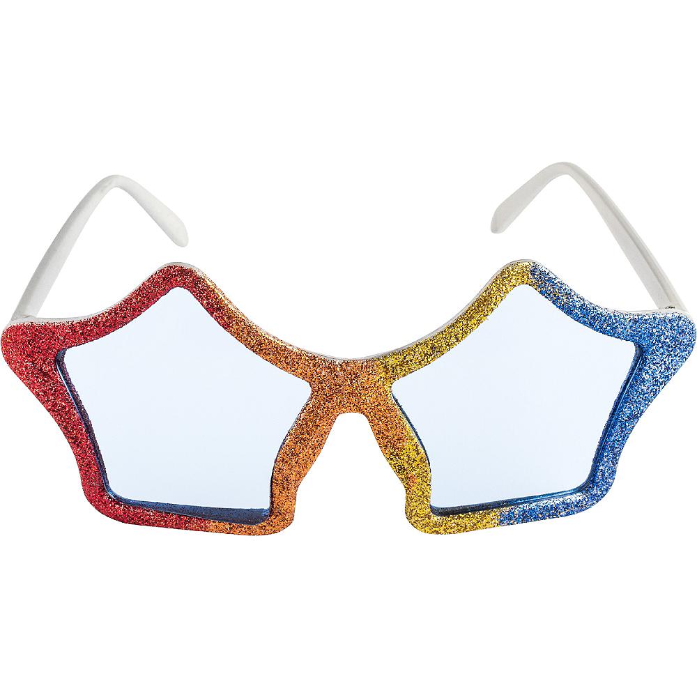 Glitter Rainbow Star Glasses Image #1