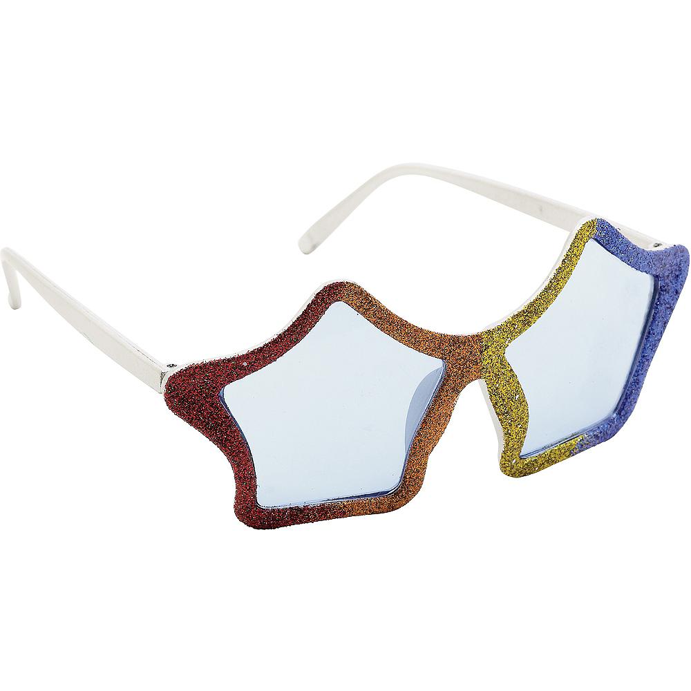 Glitter Rainbow Star Glasses Image #2
