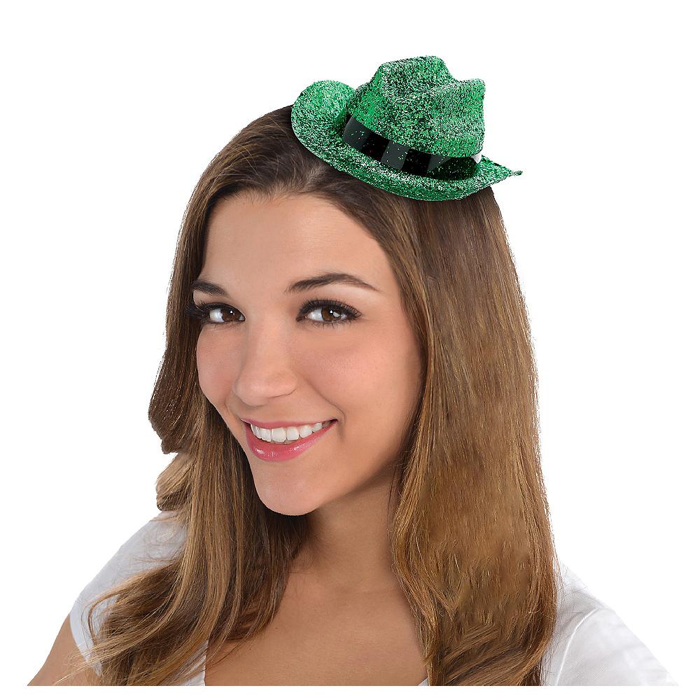 Green Glitter Mini Cowboy Hat Image #1