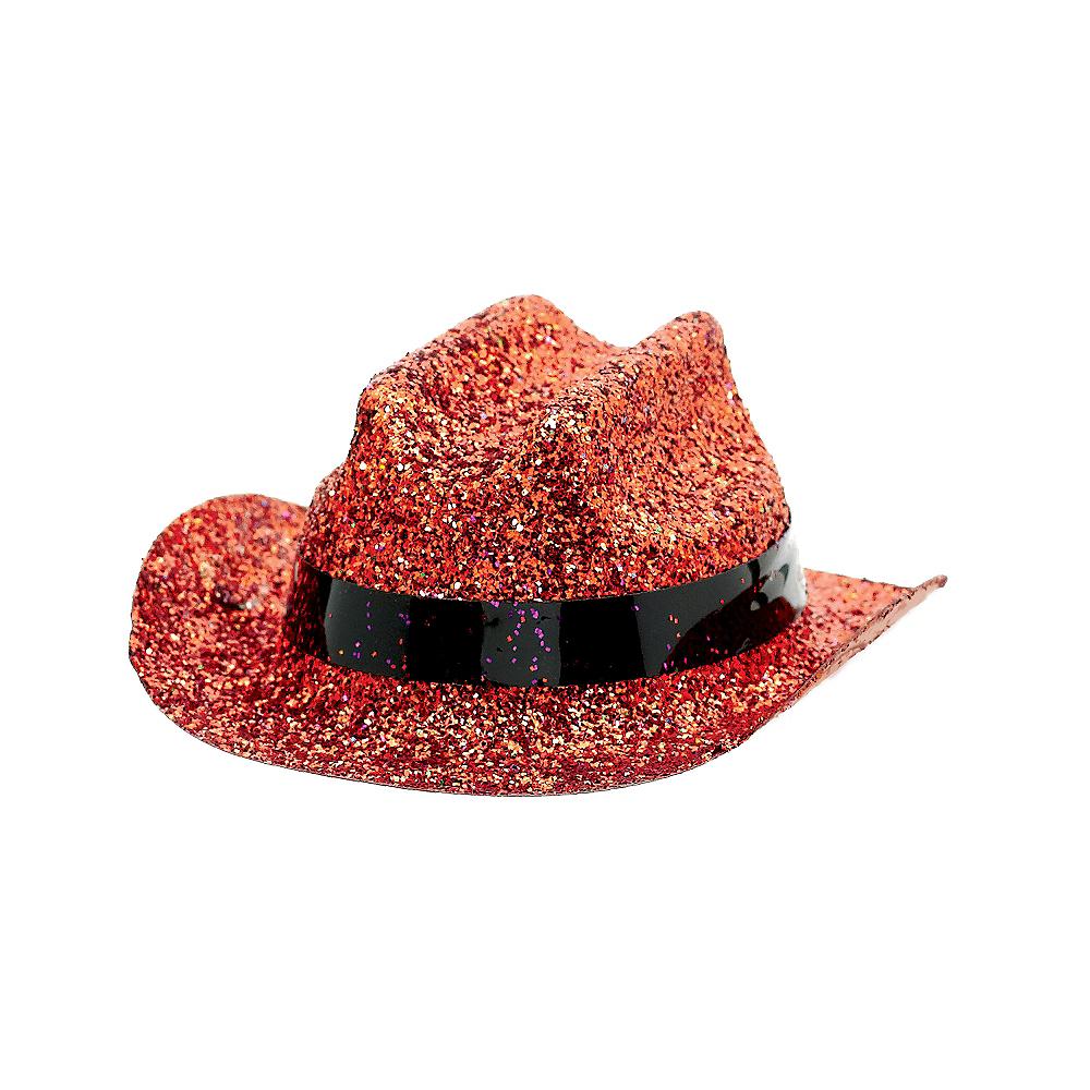 Orange Glitter Mini Cowboy Hat Image #2