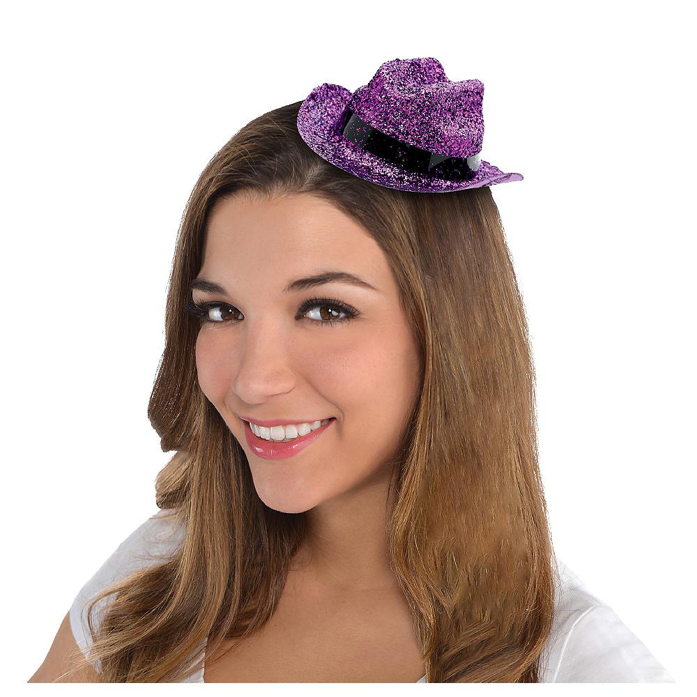 Purple Glitter Mini Cowboy Hat Image #1