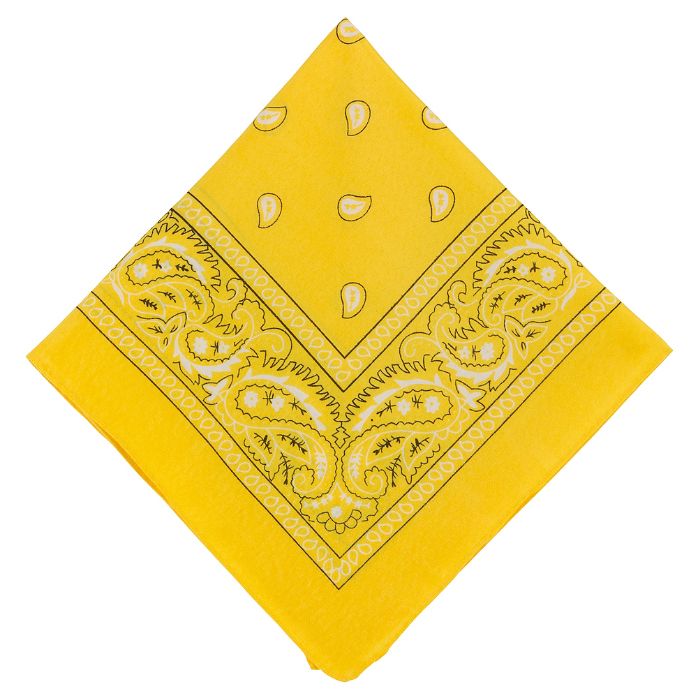 Yellow Paisley Bandana, 20in x 20in Image #1