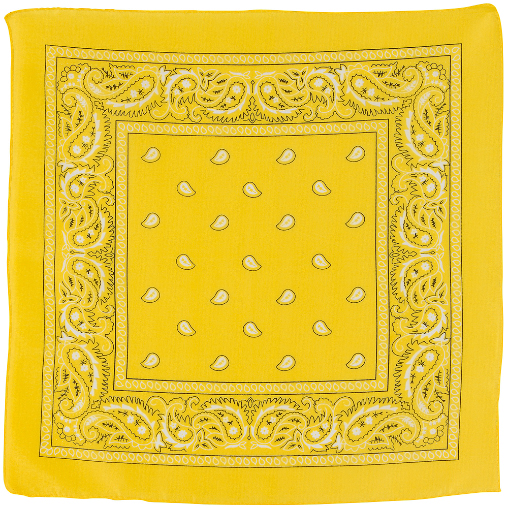 Yellow Paisley Bandana, 20in x 20in Image #2