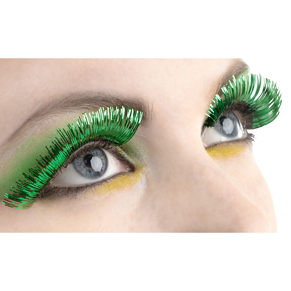 Self-Adhesive Green Tinsel False Eyelashes Image #1
