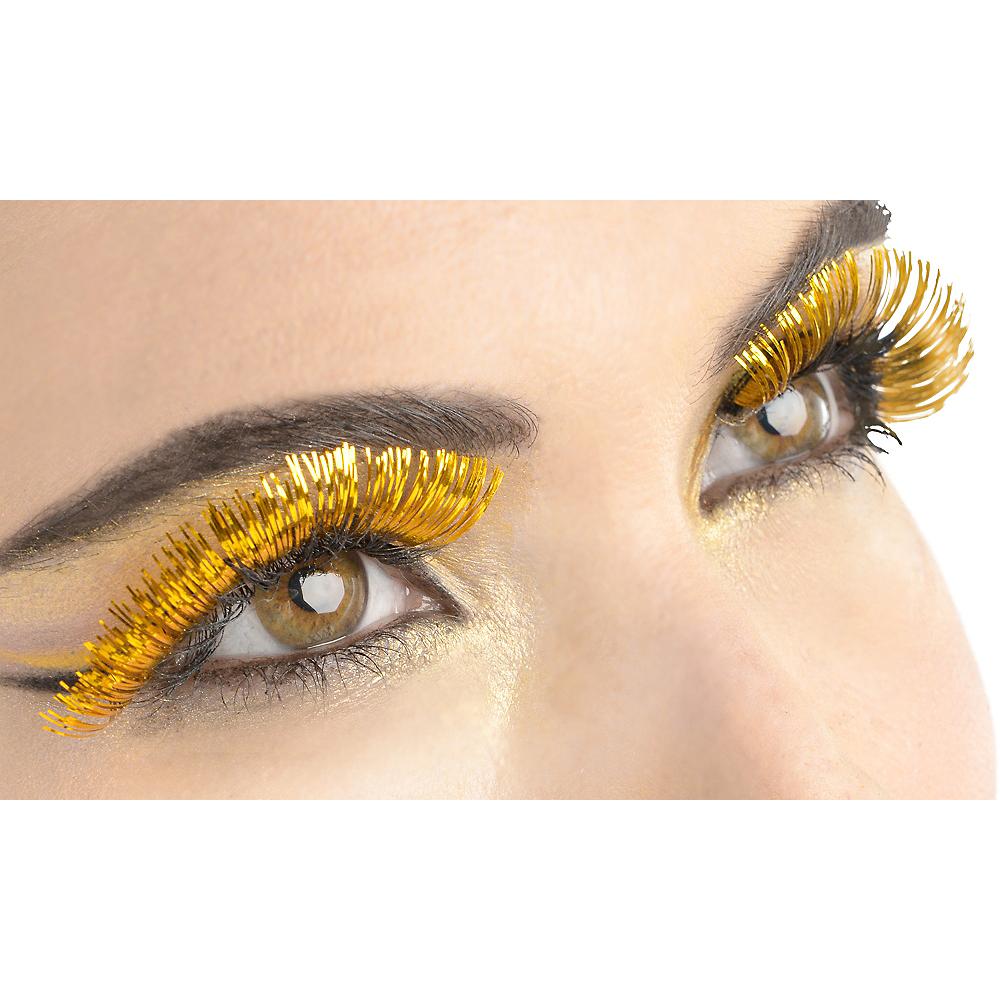 Self-Adhesive Yellow Tinsel False Eyelashes Image #1