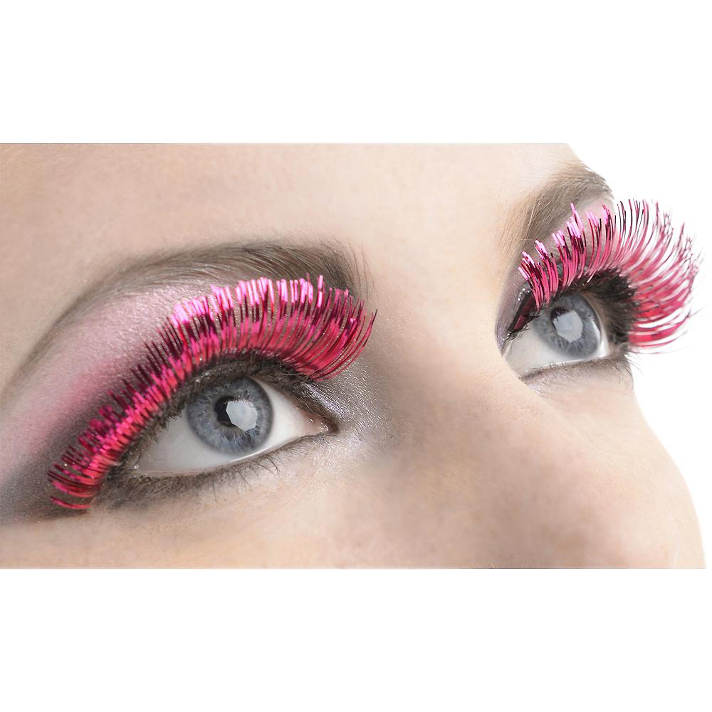 Self-Adhesive Pink Tinsel False Eyelashes Image #1