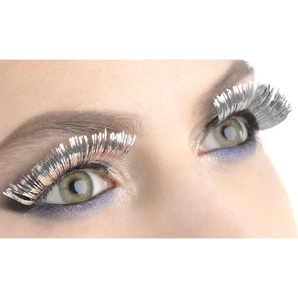 Self Adhesive Silver Tinsel False Eyelashes Party City