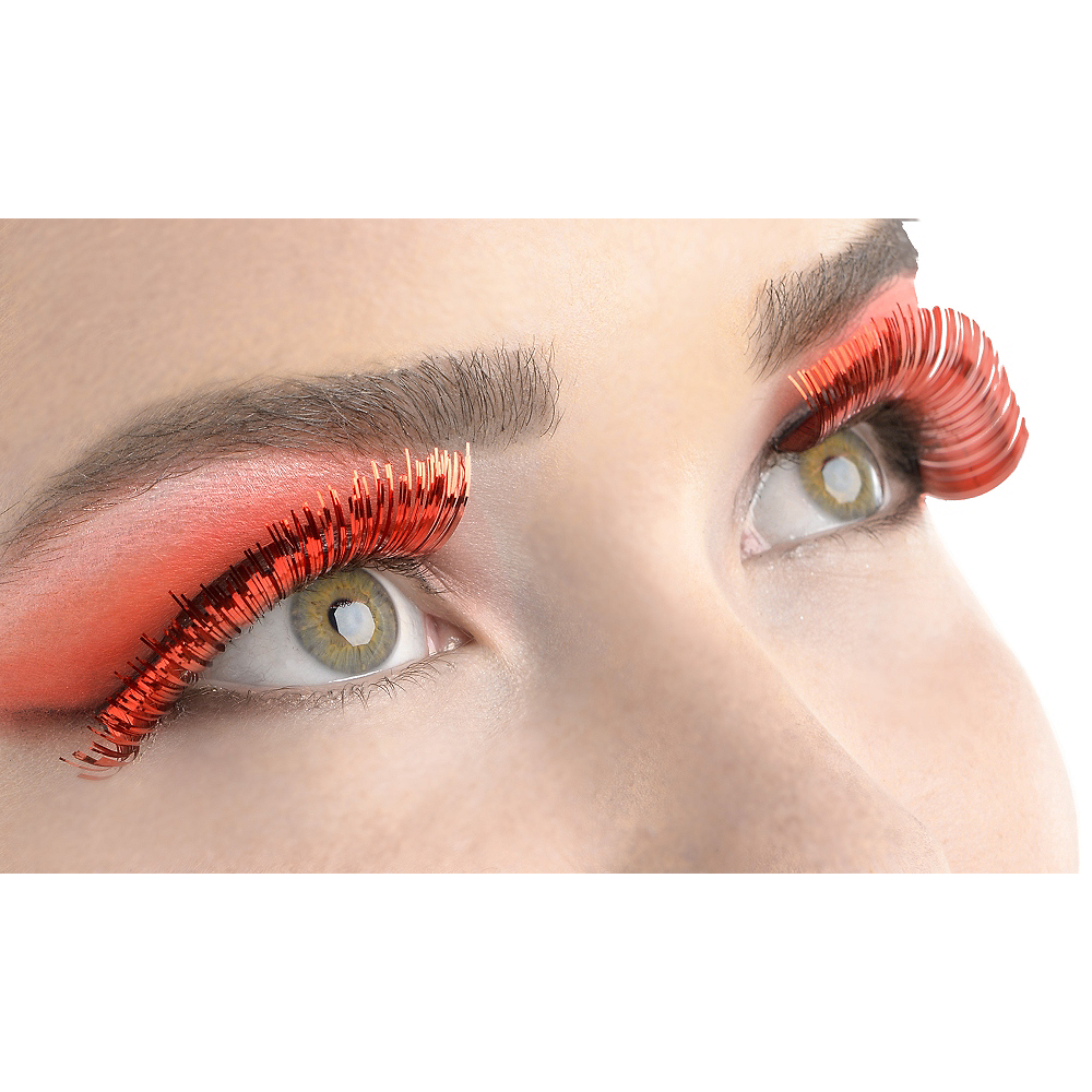 Self-Adhesive Red Tinsel False Eyelashes Image #1
