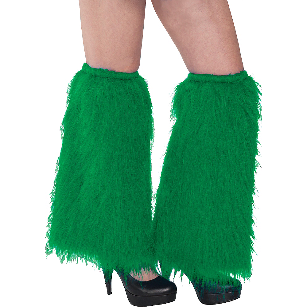 Green Furry Leg Warmers Image #1