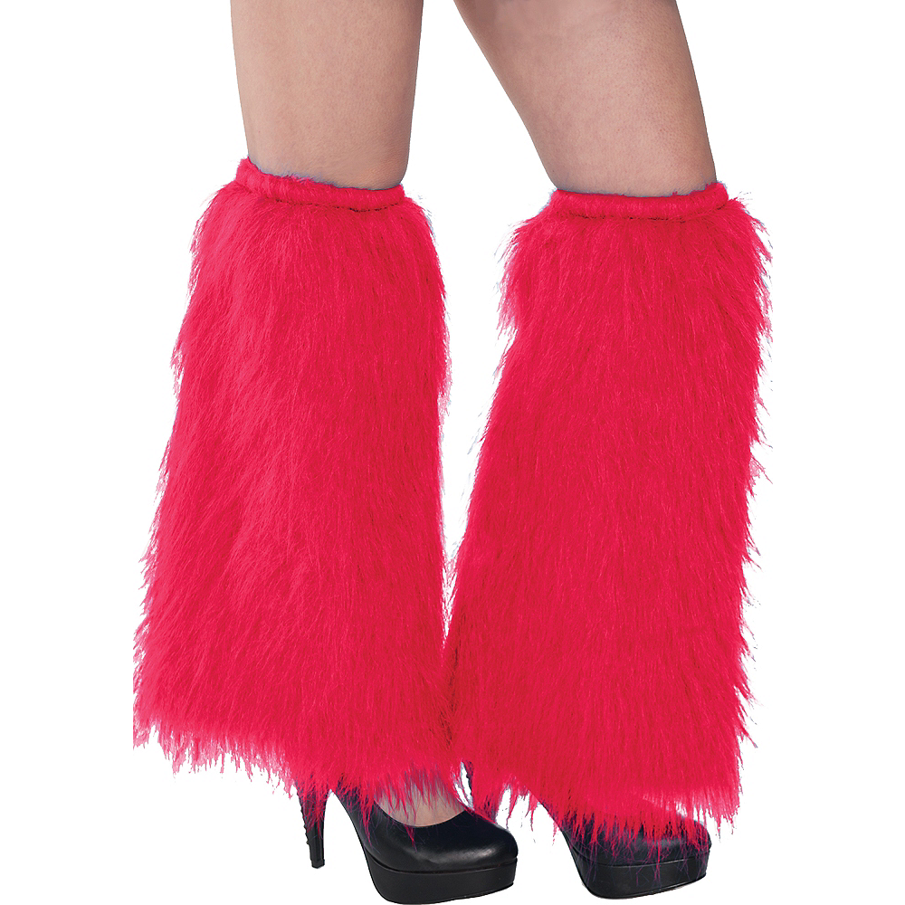 Red Furry Leg Warmers Image #1