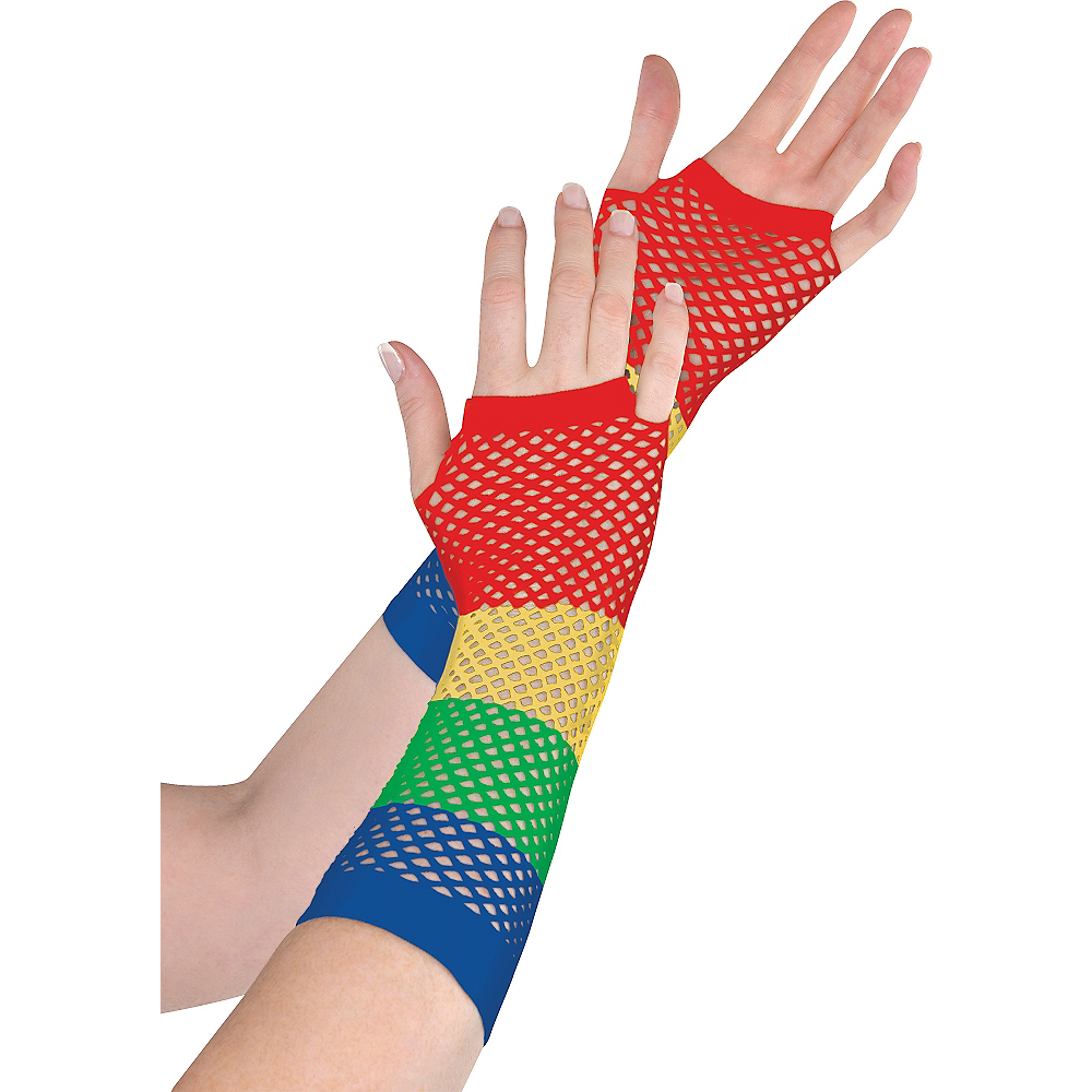Long Rainbow Fishnet Gloves Deluxe Image #1