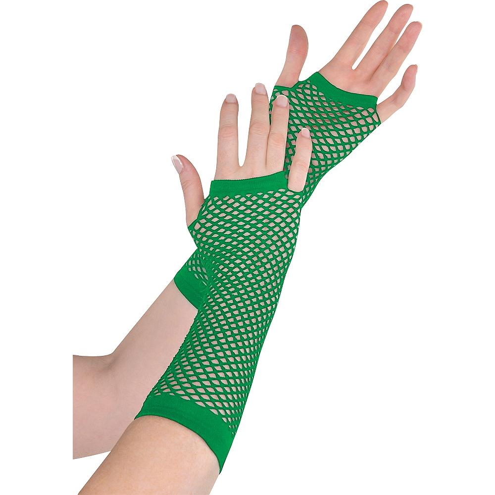 Long Green Fishnet Gloves Deluxe Image #1