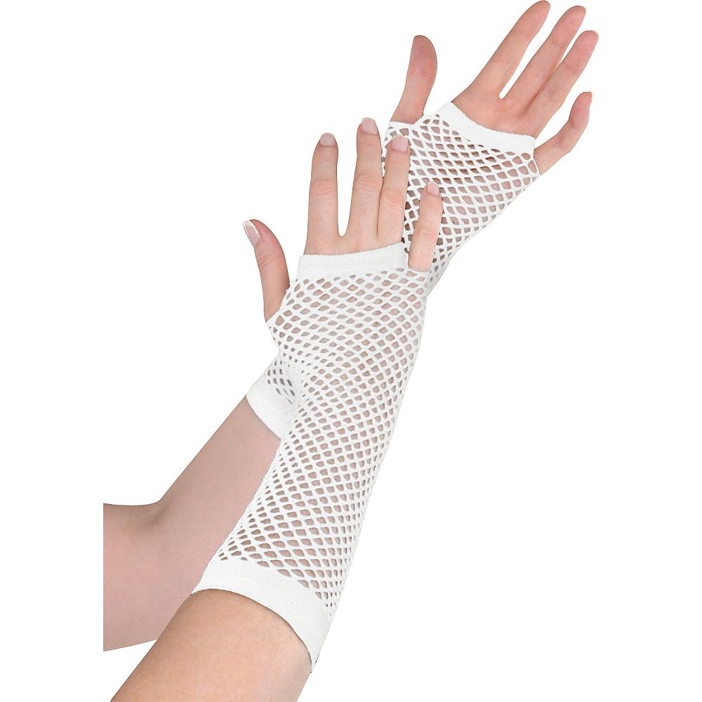 Long White Fishnet Gloves Deluxe Image #1