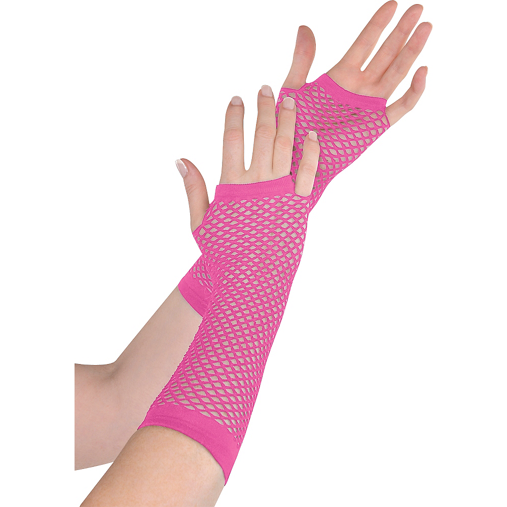 Long Pink Fishnet Gloves Deluxe Image #1