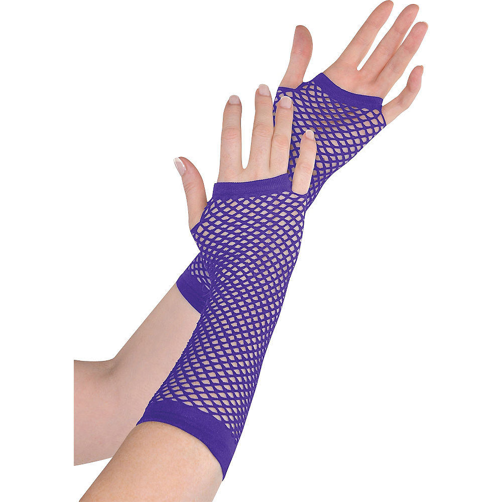 Long Purple Fishnet Gloves Deluxe Image #1
