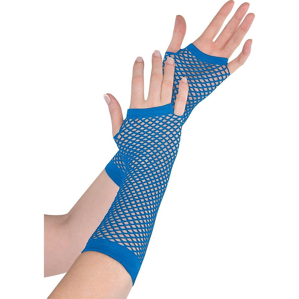 Long Blue Fishnet Gloves Deluxe Image #1