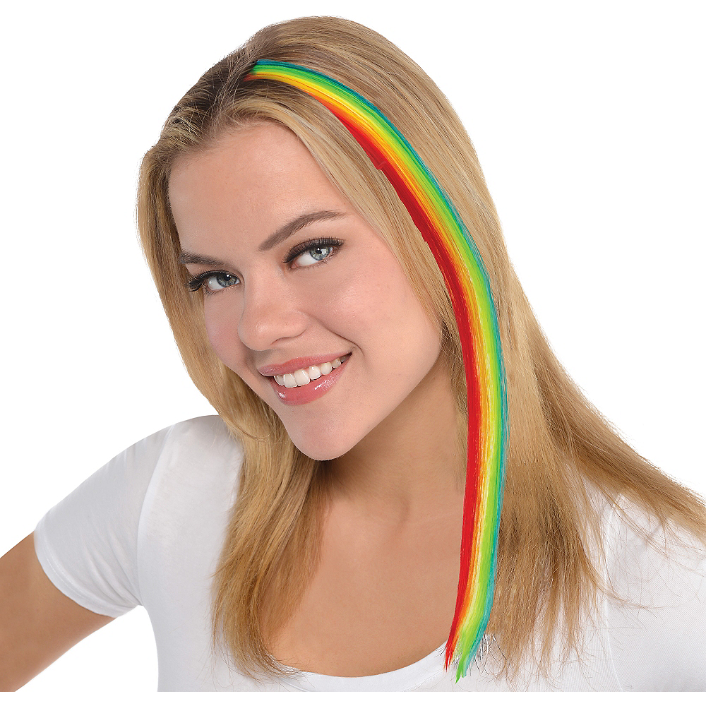 Rainbow Hair Extension 15in Party City