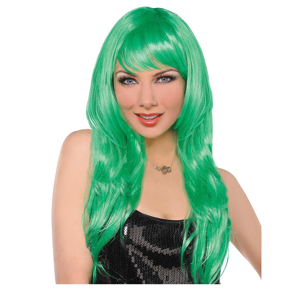 Glamorous Long Green Wig Image #1