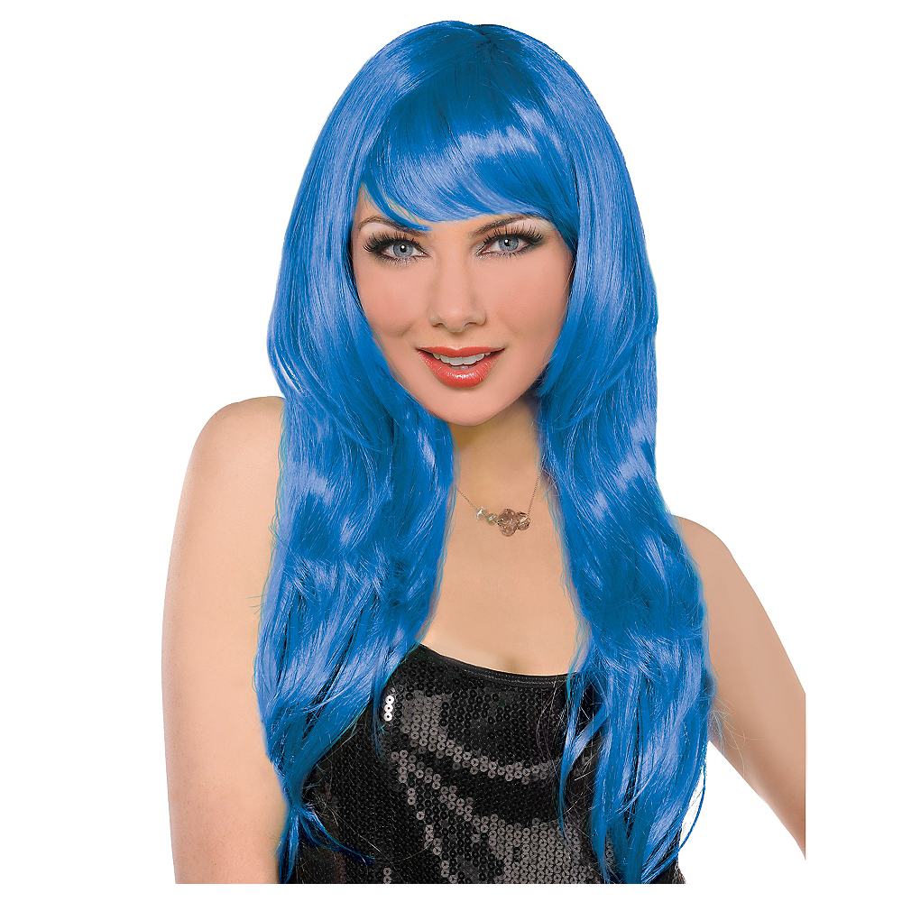Nav Item for Glamorous Long Blue Wig Image #1
