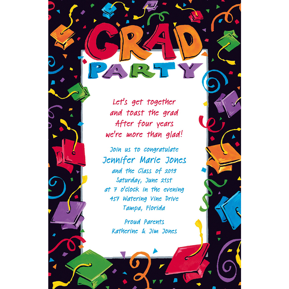 Custom Colorful Grad Party Graduation Invitations    Image #1