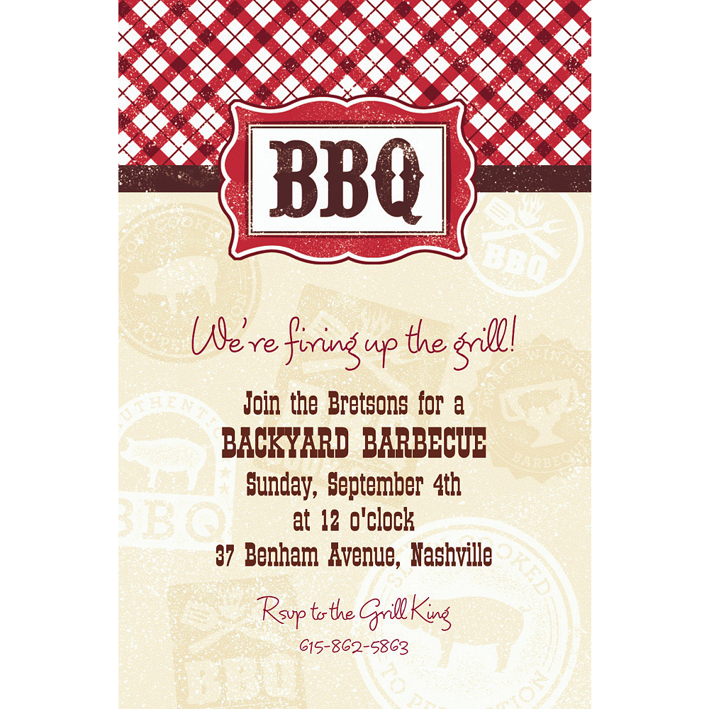 Nav Item for Custom It's BBQ Time Summer Invitations Image #1