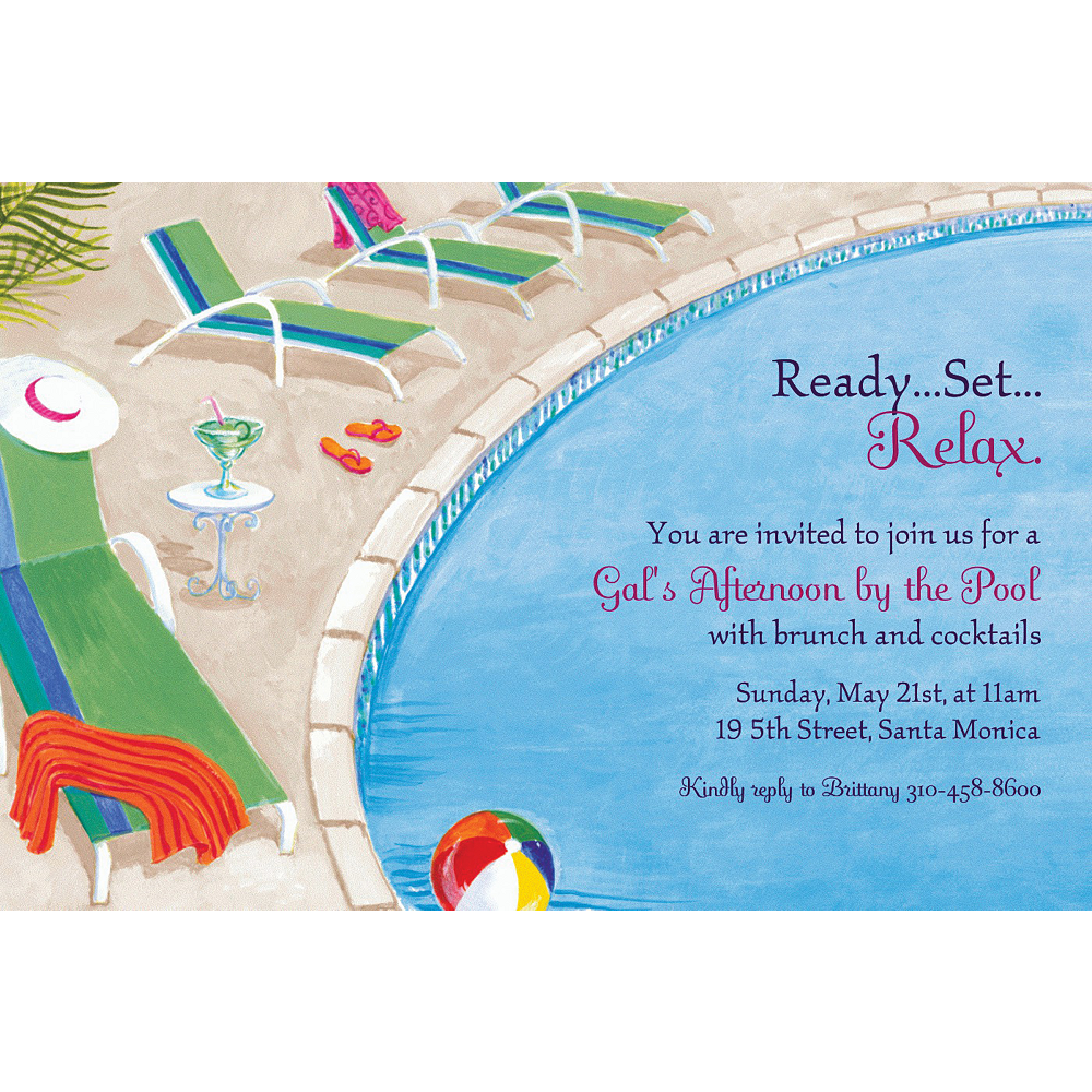 Custom Lounging by the Pool Summer Invitations Image #1