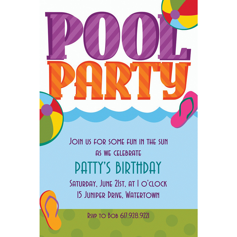 Custom Pool Party! Invitations Image #1