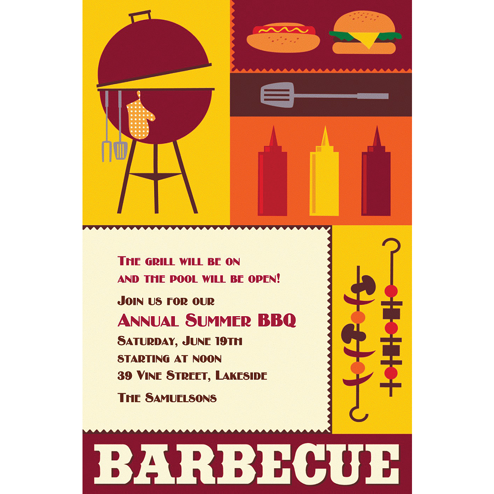 Custom Sizzling Hot Barbecue Summer Invitations Image #1