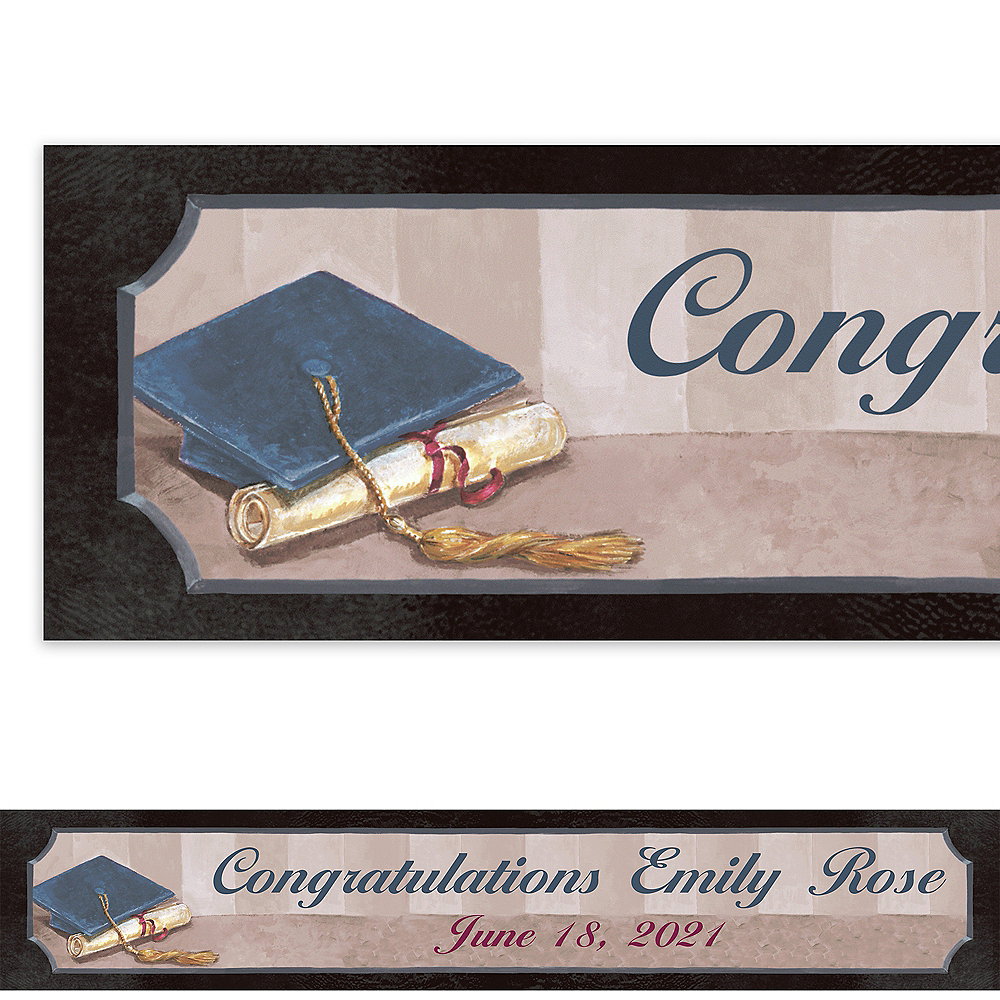 Custom Framed Cap & Diploma Banner 6ft    Image #1