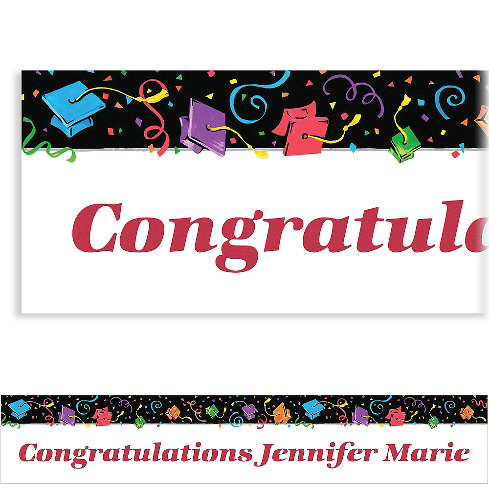 Custom Colorful Grad Party Graduation Banner 6ft    Image #1