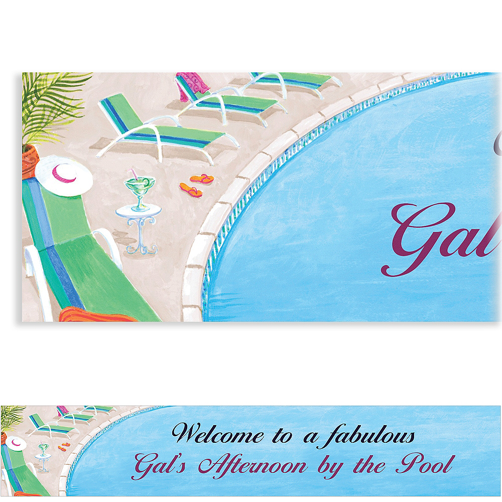 Custom Lounging by the Pool Summer Banner 6ft Image #1