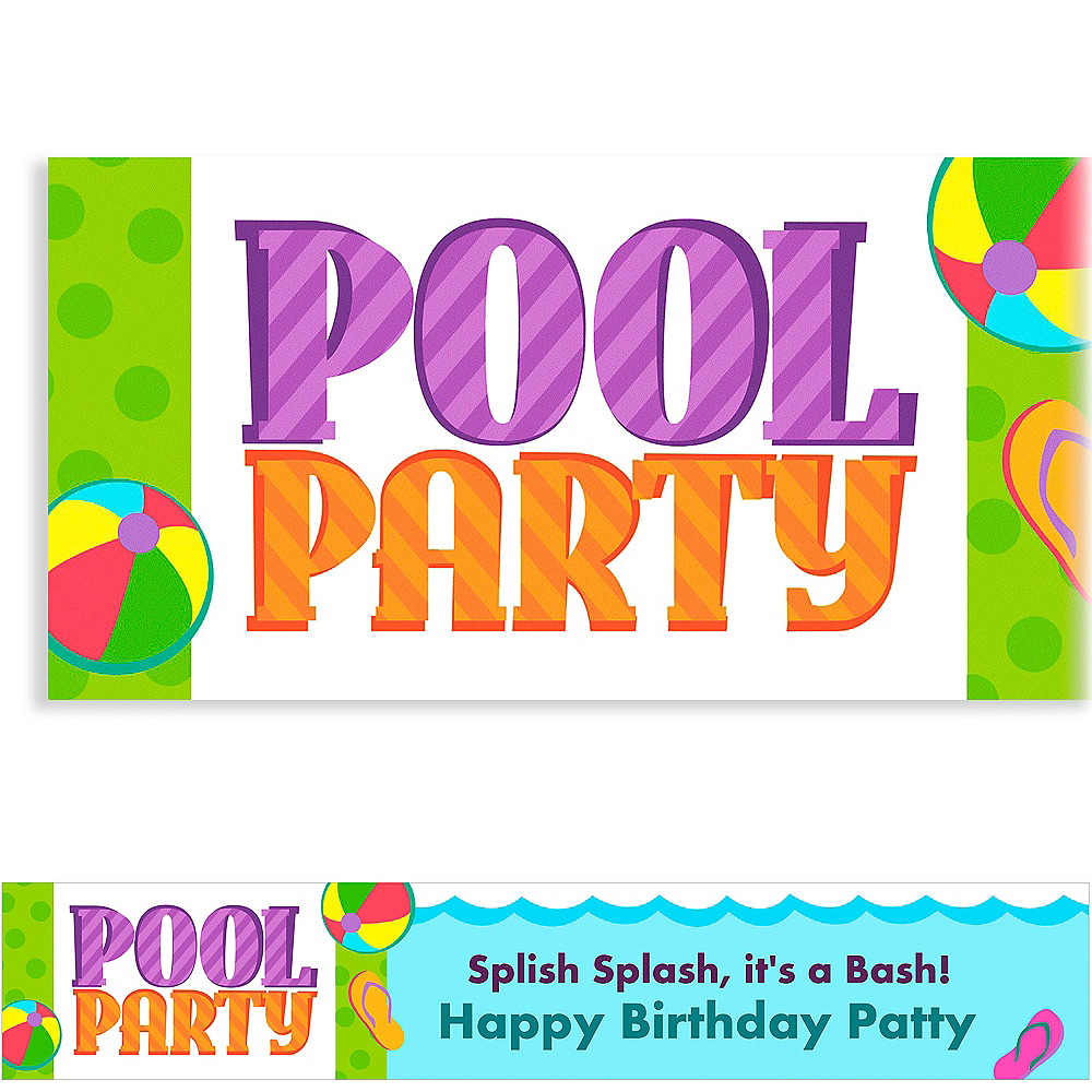 Custom Pool Party! Banner 6ft Image #1