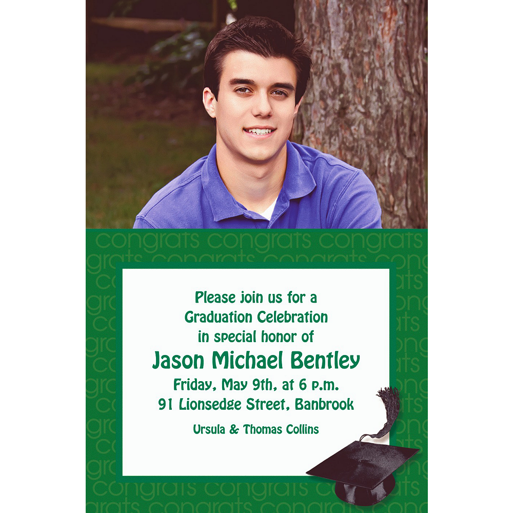 Custom Green Congrats Grad Photo Invitations    Image #1