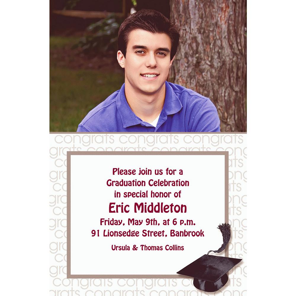 Custom White Congrats Grad Photo Invitations  Image #1
