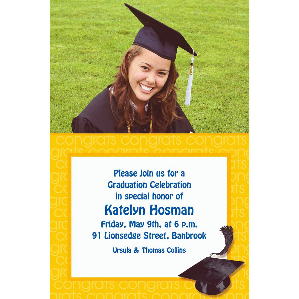 Custom Yellow Congrats Grad Photo Invitations    Image #1