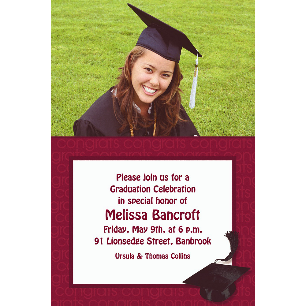 Custom Berry Congrats Grad Photo Invitations     Image #1