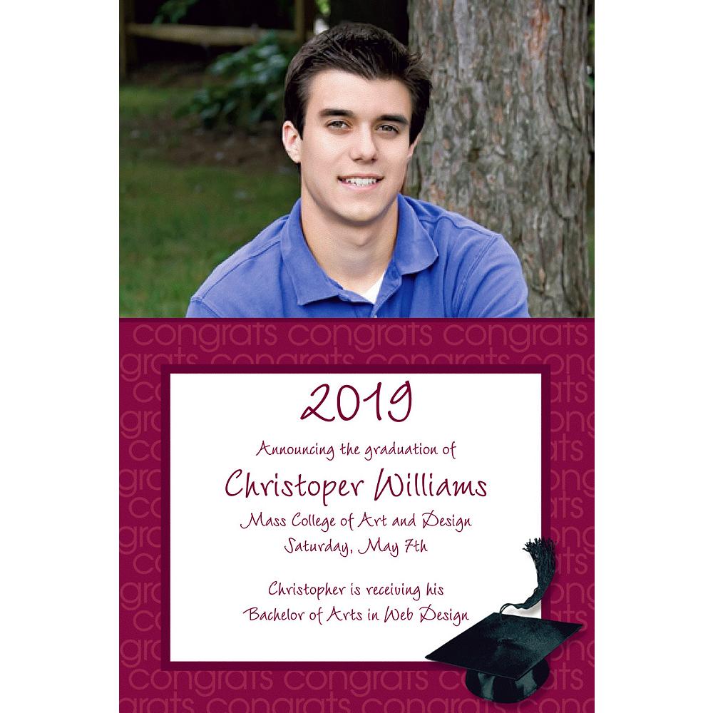 Custom Berry Congrats Grad Photo Announcements  Image #1