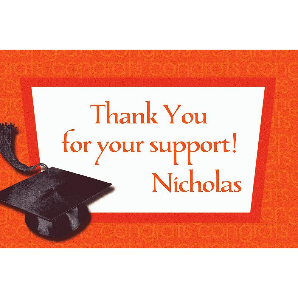 Custom Orange Congrats Grad Thank You Notes  Image #1