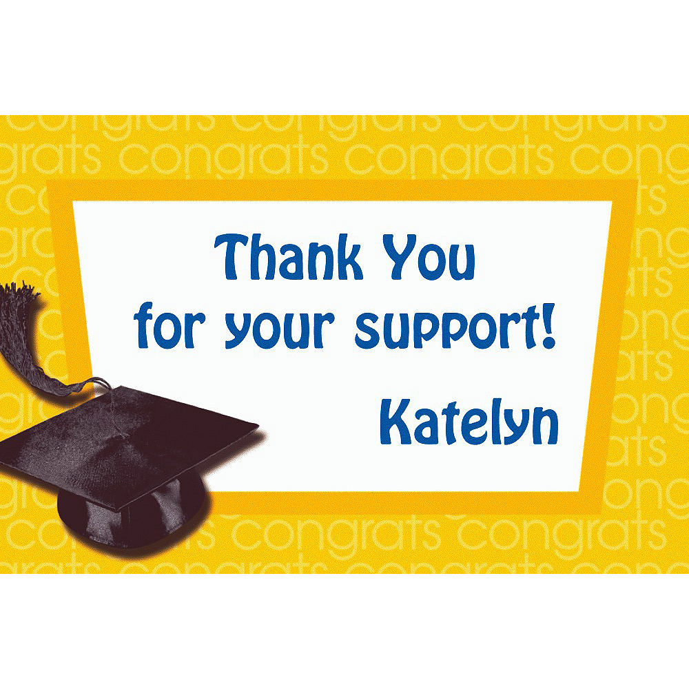 Custom Yellow Congrats Grad Thank You Notes  Image #1