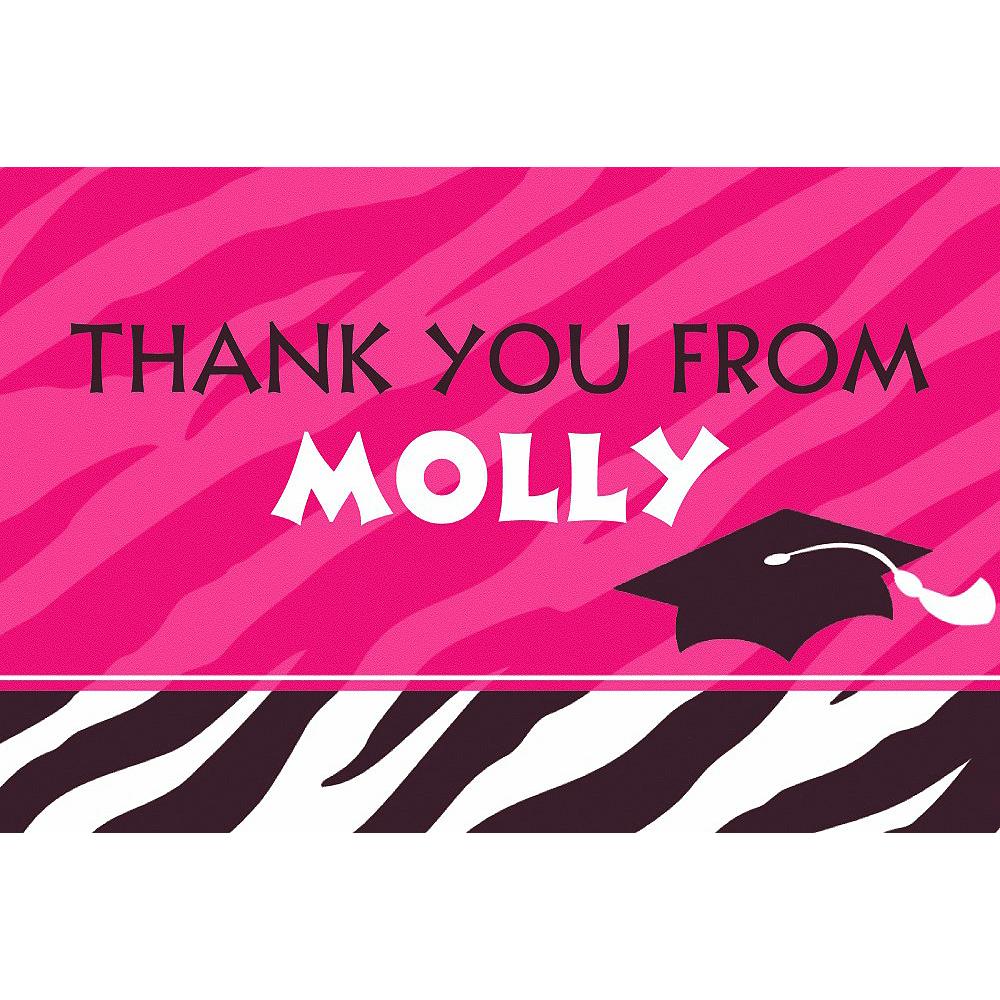 Custom Zebra Graduation Party Thank You Notes Image #2