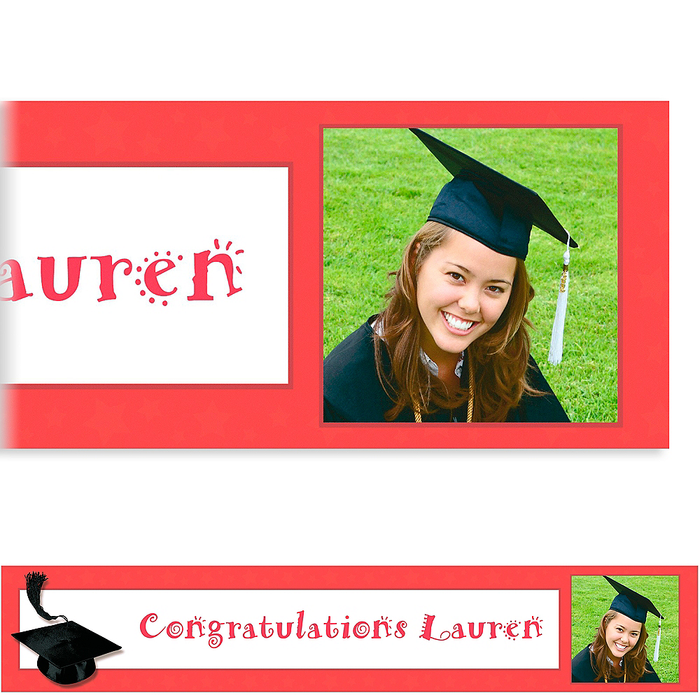 Custom Red Congrats Grad Photo Banner 6ft  Image #1