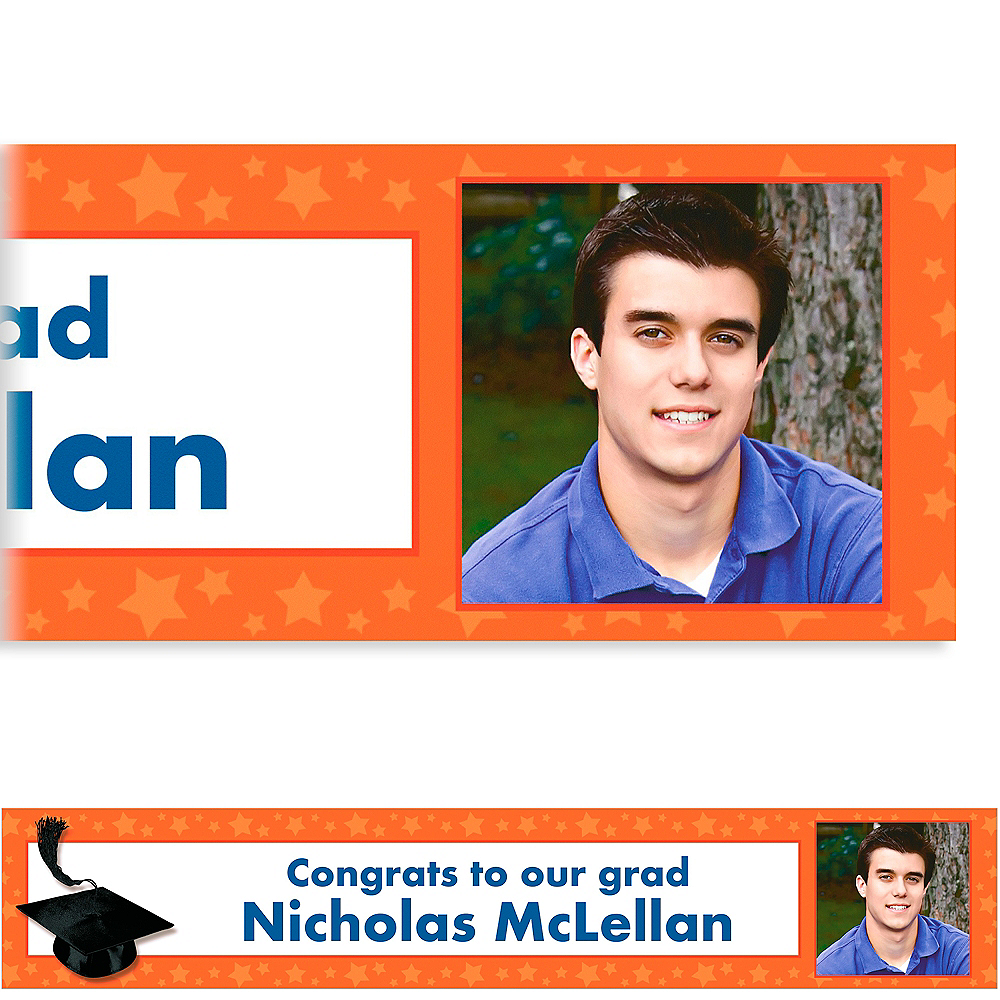 Custom Orange Congrats Grad Photo Banner 6ft    Image #1