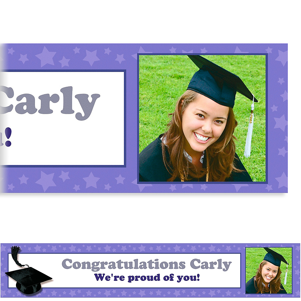 Custom Purple Congrats Grad Photo Banner 6ft    Image #1