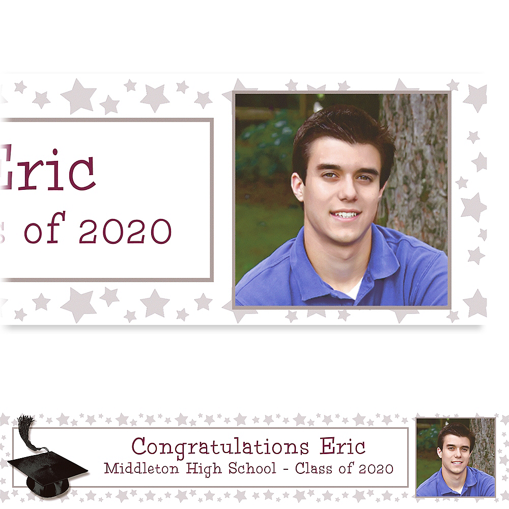 Custom White Congrats Grad Photo Banner 6ft    Image #1