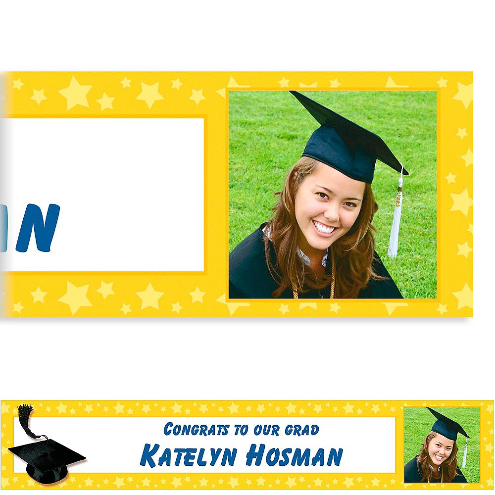 Custom Yellow Congrats Grad Photo Banner 6ft  Image #1