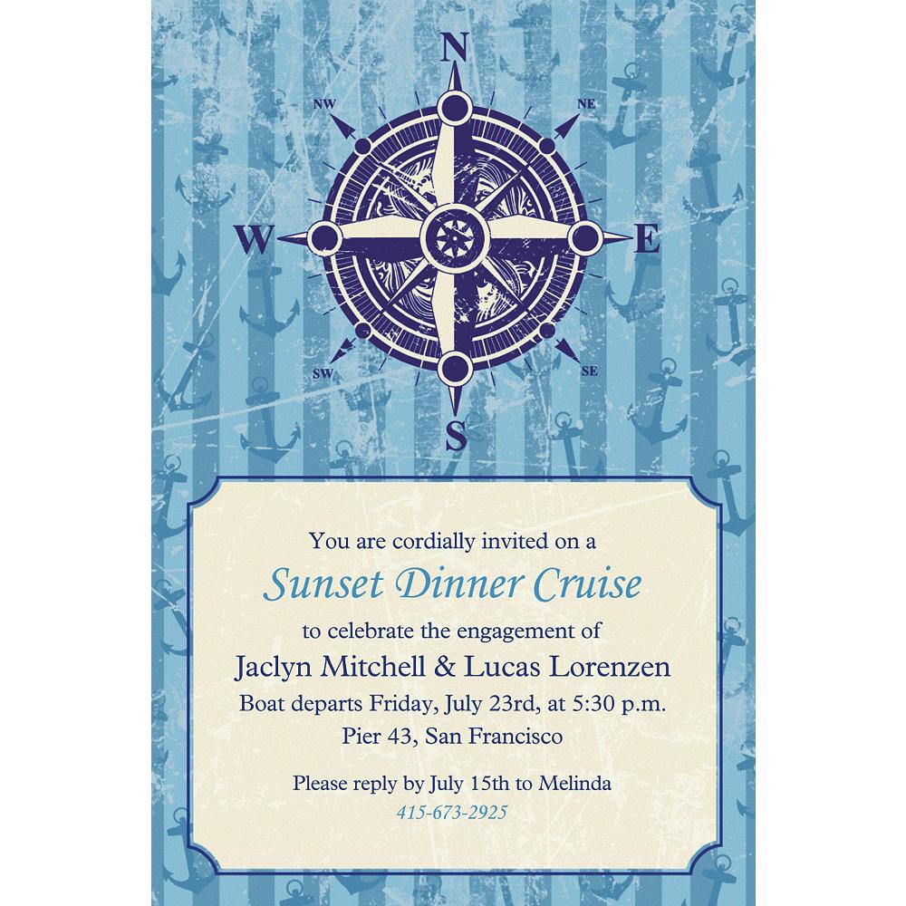 Custom Compass on Seersucker Border Invitations Image #1
